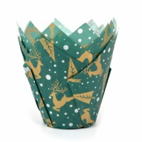 House of Marie Muffin Cups Tulp Rendier Groen -36st