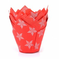 House of Marie Muffin Cups Tulp Rode Ster -36st