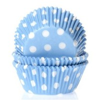 House of Marie Baking Cups Stippen Blauw -50st-