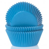 House of Marie Baking Cups Effen Cyaan Blauw -50st-