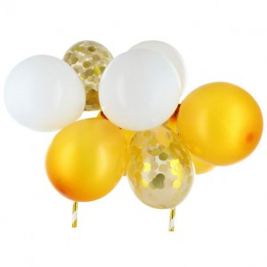 Taarttopper Set Mini Confetti Ballon Goud