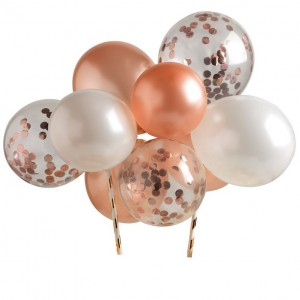 Taarttopper Set Mini Confetti Ballon Rosé Goud