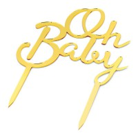 CakeDeco Taarttopper Oh Baby - Spiegel Goud