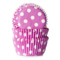 House of Marie Mini Baking Cups Stip Roze -60st-