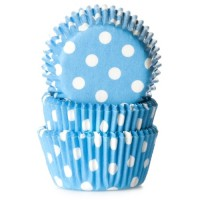 House of Marie Mini Baking Cups Stip Blauw -60st-