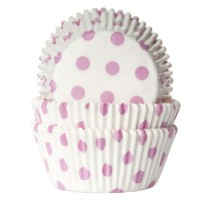 House of Marie Baking Cups Stippen Wit/Baby Roze -50st-