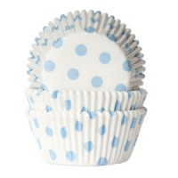 House of Marie Baking Cups Stippen Wit/Baby Blauw -50st-