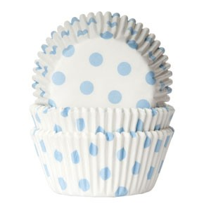 House of Marie Baking Cups Stippen Wit/ Baby Blauw (50st)