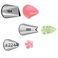Wilton Decorating Tip Set Petal 104, Leaf 352, Flower 224