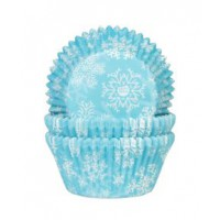 House of Marie Baking Cups Sneeuwkristal Blauw -50st-