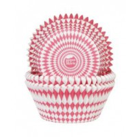 House of Marie Baking Cups Harlequino Rood -50st-