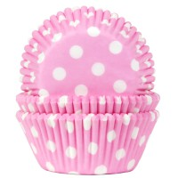 House of Marie Baking Cups Stippen Baby Roze -50st-