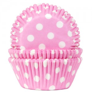 House of Marie Baking Cups Stippen Baby Roze (50st)