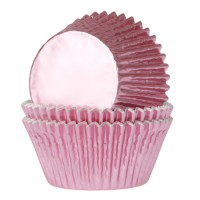 House of Marie Baking Cups Folie Baby Roze -24st-