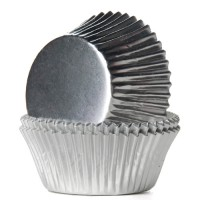 House of Marie Baking Cups Folie Zilver -24st-