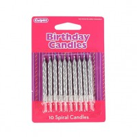 Spiral Candles Silver -10st-