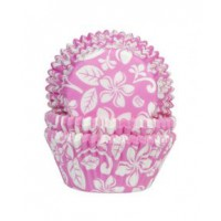 House of Marie Baking Cups Aloha Bloem Roze -50st-