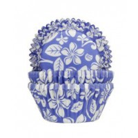 House of Marie Baking Cups Aloha Bloem Blauw -50st-