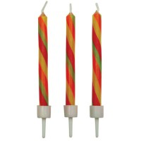 PME Candles Candy Stripes Twist with Holders -10st-
