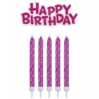 PME Candles & Happy Birthday Pink -17st-
