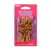 Culpitt Curly Candles Gold -20st-