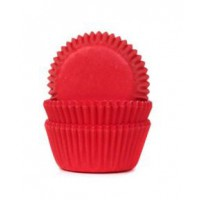 House of Marie Mini Baking Cups Effen Rood -60st-