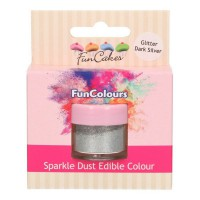 FunCakes Edible FunColours Sparkle Dust Glitter Dark Silver