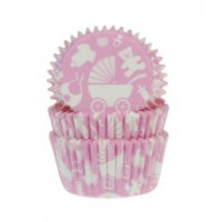 House of Marie Baking Cups Baby Roze -50st-