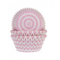 House of Marie Baking Cups Chevron Roze -50st-