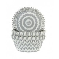 House of Marie Baking Cups Chevron Zilver -50st-