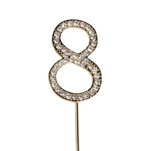 Cake Star Diamante Number 8 - Gold Wire