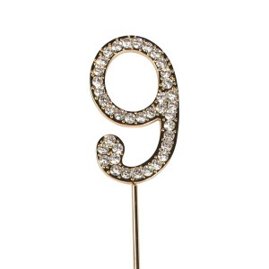Cake Star Diamante Number 9 - Gold Wire