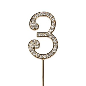 Cake Star Diamante Number 3 - Gold Wire