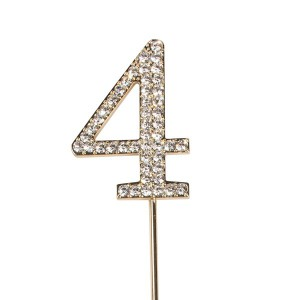 Cake Star Diamante Number 4 - Gold Wire