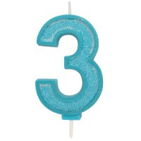 Sparkle Blue Numeral Candle 3
