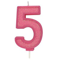 Sparkle Pink Numeral Candle 5