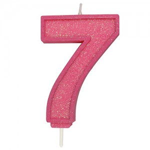 Sparkle Pink Numeral Candle 7