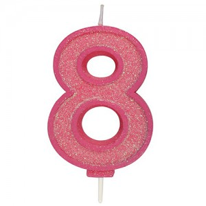 Sparkle Pink Numeral Candle 8