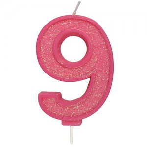 Sparkle Pink Numeral Candle 9