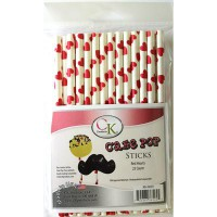 CK Cake Pops Sticks Hearts Red -25st-