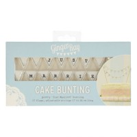 Ginger Ray Cake Bunting Topper Just Married White Vintage