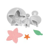 Cake Star Plunger Cutter Flower, Leaf & Star -3st-
