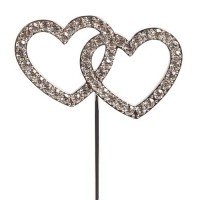 Cake Star Diamante Double Heart Pic