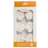Decora Sugar Flowers Roses Large White -6st-