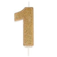 Sparkle Gold Numeral Candle 1