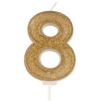 Sparkle Gold Numeral Candle 8