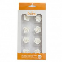Decora Sugar Flowers Roses Small White -8st-