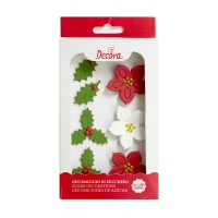 Decora Sugar Flowers Poinsettias & Holly Leaves -6st-