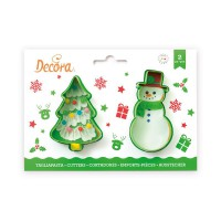 Decora Cookie Cutter Set Tree & Snowman -2st-