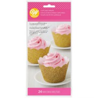 Wilton Cupcake Wrappers Glitter Gold -24st-